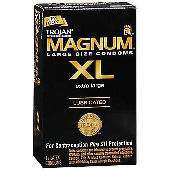 Trojansmurte latex kondomer, magnum xl, ekstra stor, 12 ea *