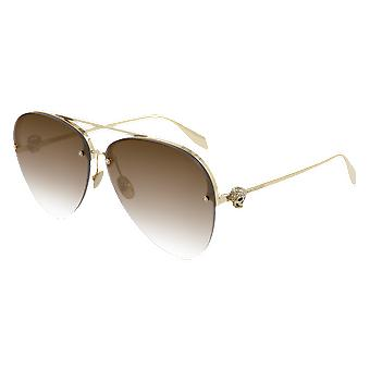 Alexander Mcqueen AM00270S 002 Gold/Brown Gradient Sunglasses