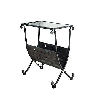 BLACK / TAUPE MIX METAL MAGAZINE TABLE W/ TEMPERED GLASS