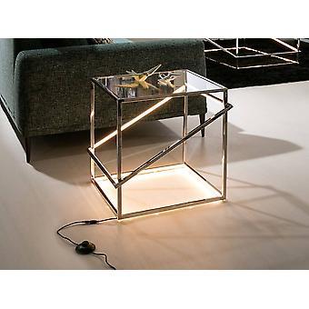 Lampe de table en cristal LED intégrée Poli Chrome