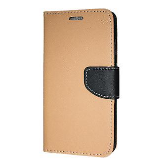 Samsung Galaxy A21S (A217) Boîtier portefeuille Fantaisie Case + Main Strap Or-Noir