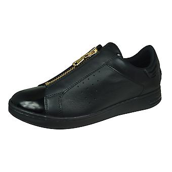 Geox D Jaysen A Womens Nappa Leather Zipped Trainers - Black