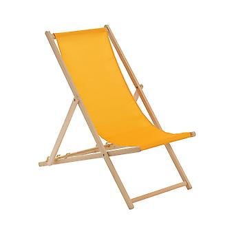 Wooden Deck Chair - Traditional Beach Style Adjustable Folding Chair - Mustard