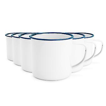 Rink Drink White Émail Coffee / Teacups - 240ml - Blue Trim - Pack de 6