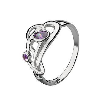 Heritage Art Nouveau Flowing Knot 2 Stone Ring 1209AM