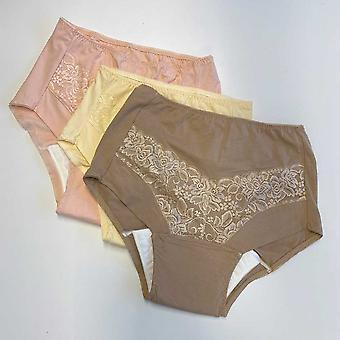 Lace Incontinence Briefs (Pack of 3) – Coffee & Cream & Pink - S (10-12)