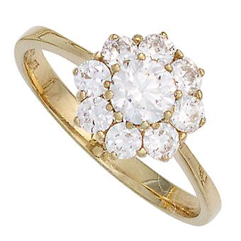 Kvinders Ring 375 Guld Gul Guld 9 Zirconia Gold Ring