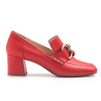 Moccasins In Soft Nappa Red Medium Heel