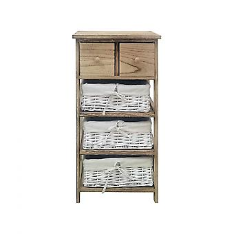 Rebecca Furniture Chest of Drawers 3 Baskets 2 Drawers Wood Light Wicker Bathroom 75x40x30