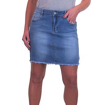 Women's Distressed Denim Jeans Mini Skirt With Frayed Hem Faded Blue 6-14