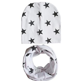 Winter Spring Baby Hat Scarf Set- Cotton Baby Cap Star Print Kids Hats, Newborn