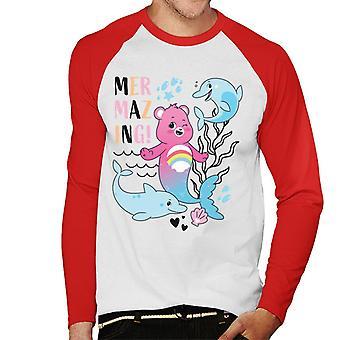 Care Bears Unlock The Magic Cheer Bear Mermazing Men's Baseball Long Sleeves T-Shirt