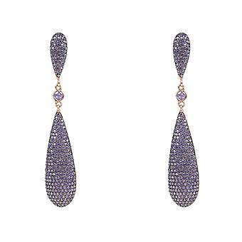 Purple Amethyst CZ Large Drop Designer Rose Gold Earrings 925 Silver Big Wedding