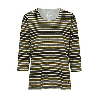 PENNY PLAIN Forest Green Striped Top
