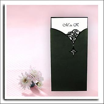 10 Black Laser Cut Invitation Pockets with diamnte END OF LINE
