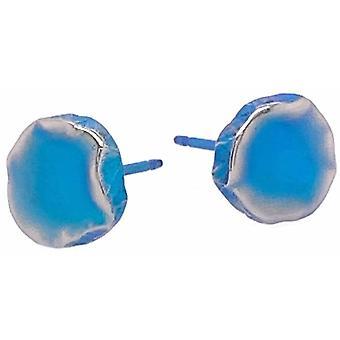 Ti2 Titanium litistetty 9mm pyöreä nasta korvakorut - Kingfisher Sininen