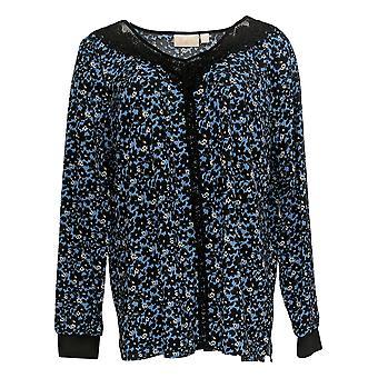 Belle by Kim Gravel Women's Top Mesh Print Blouse Lace Trim Blue A370356