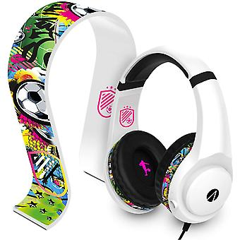 STEALTH Street Gaming Headset with Stand (White with Black/Graffiti Stand)