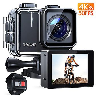 Apeman action camera a100, 4k/50fps 20mp touch screen wifi waterproof 40m helmet cam extreme stabili