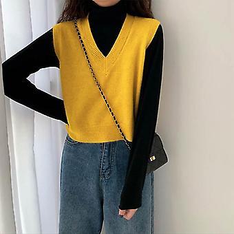 Herbst Pullover Weste, koreanische elegante Student V-Ausschnitt Pullover lose lässig