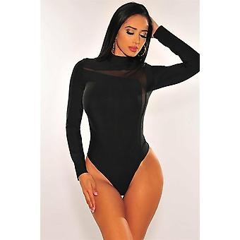 Bandage Mesh Mock Neck, Long Sleeve Bodysuit