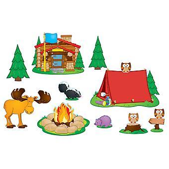Juego de tableros de boletín de camping, 48 piezas