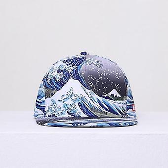 Couple Hip-hop Hat Cotton Polyester 3d Printed Summer Caps/women (bleu)