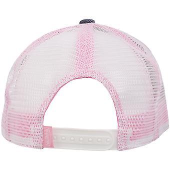 Von Dutch Mens Patch Logo Réglable Snapback Trucker Cap Hat - Denim/Pink/White