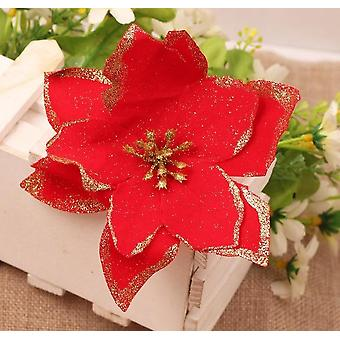 Glitter Christmas Artificial Flowers Decorations