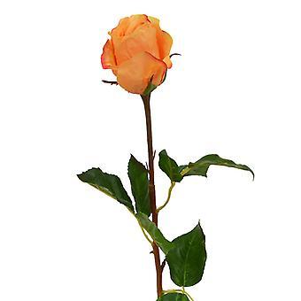 Künstliche Rose Zweig Knopf 52 cm orange