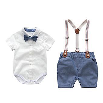 Baby Gentleman Party Costume Soft Cotton Jumpsuit + Shorts Baptism Dress Set