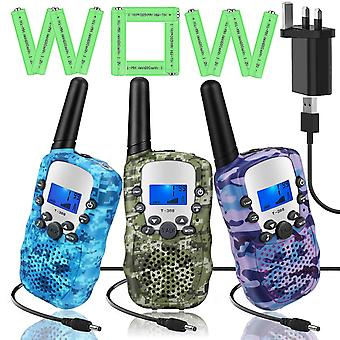 Topsung 3 walkie talkie rechargeable for kids two way radios long range with charger batteries, upgr