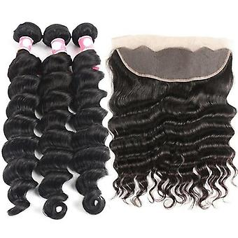 10a Grade 3/4 Bundles mit Frontal brasilianischen Lose Body Wave Bundles