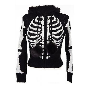 Too Fast Skeleton Ribcage Hooded Zip-Up Cardigan