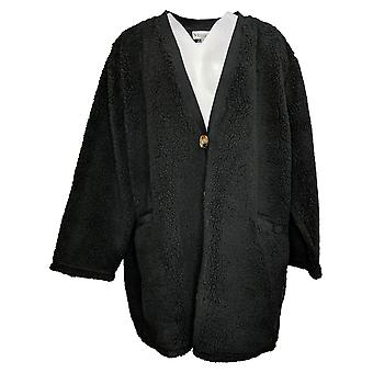 Koolaburra By UGG Women's Sweater Plus Cardigan Rib Trim Black A386399