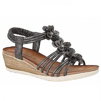 Cipriata Gerina Dames Halterback Wedge Sandals Pewter