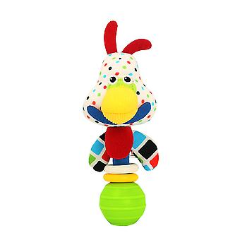 4pcs Horse Dog Chicken Cow Plush Rattle Stick With Bell Bounce Ball Sensory Baby Hand Grab