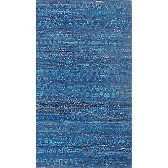 Spura Hjemmehånd knyttede moderne stribe turkis bomuld & silke 5x8 område tæppe