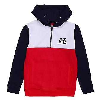 Jack Wills Kids Colour Block  quarter  Zip Hoodie