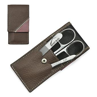 Hans Kniebes' Sonnenschein 3-piece Manicure Set in Nappa Leather Case, Made in Germany - Taupe / Off-white / Dusky pink