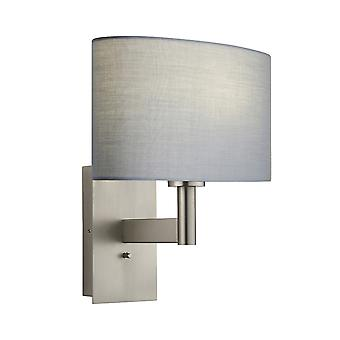 Wall Lamp Matt Nickel Plate, Grey Fabric Oval Shade With Usb Socket