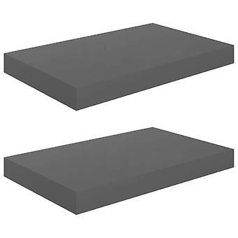 vidaXL Kelluvat seinähyllyt 2 kpl. Korkeakiiltoinen harmaa 40x23x3,8cm MDF