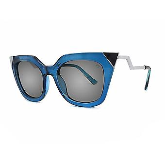 Ruby rocks metal tip and angled temple mykonos sunglasses in blue