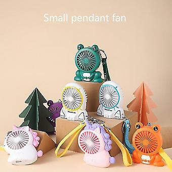 Cartoon Unicorn sleutelhanger draagbare mini fan student hanger zak opladen fan (01 kikker groen)