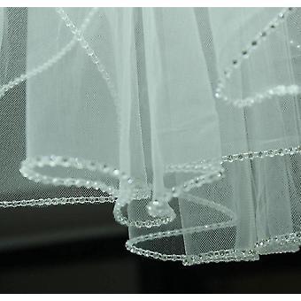 جديد 2 طبقة الحجاب الزفاف، قفص الطيور الحجاب الزفاف القصير