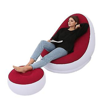 Inflatable Leisure Sofa Chair And Footstool Outdoor Folding Lounger Sofa Flocking Lazy Couch(Red)