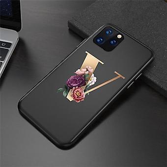 Aangepaste eerste letter telefoonhoesje voor iphone 11 12 pro x xr xs max bloemen zwarte siliconen zachte achterkant