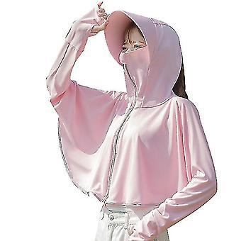 Is silke solbeskyttelse klær, uv beskyttelse sjal for sykling om sommeren (rosa)