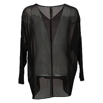 WynneLayers By MarlaWynne Women's Top XS Sheer Layering Blouse Black 633854