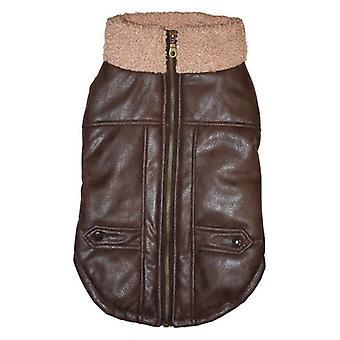 Fashion Pet Brown Bomber Dog Jacket - Large
